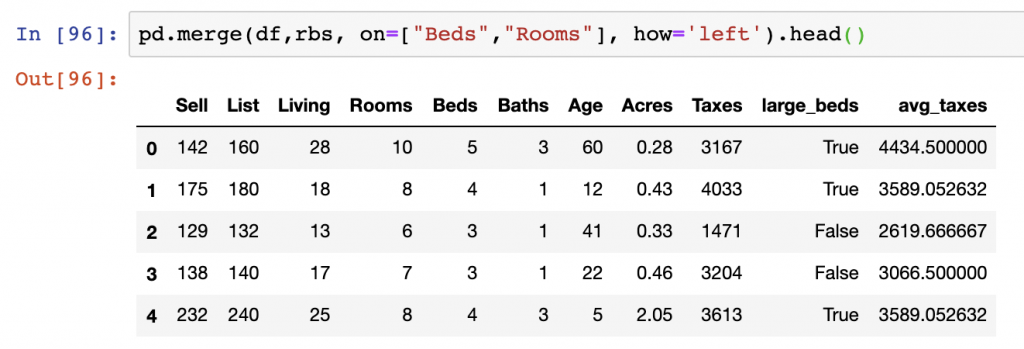A left join performed on multiple columns using Pandas